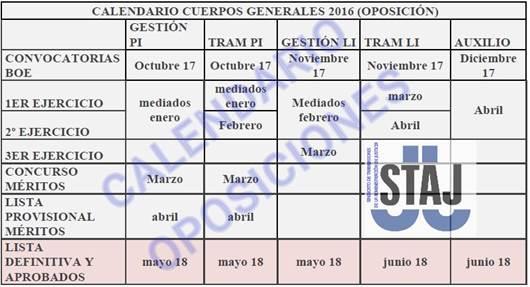 Calendario OPE 2016